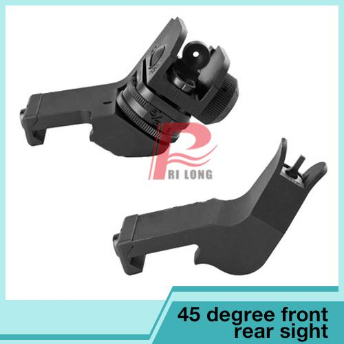 Tactical GDT AR15 Front and Rear Sight flip up 45 Degree Rapid Transition Backup Iron Sight RL27-0001