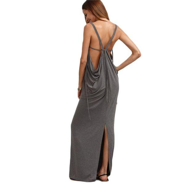 Caged Draped Back Slit Dress Sexy Long Dresses Summer Ladies Sleeveless V Neck Backless Cut Out Split Shift Maxi Dress