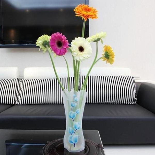 12*27cm Foldable Flower PVC Vase Folding Unbreakable Reusable Vase Home Table Wedding Party Decoration DHL&FEDEX Free SHipping