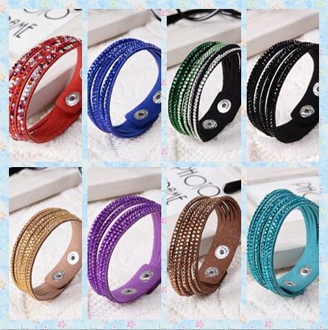 Mix order 6 layers shining crystal leather bracelets slake bracelet wristbands genuine leather wrap bracelets leather 30pcs/lot