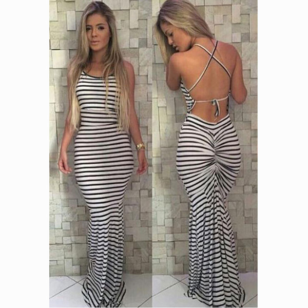 Brand New Sundress Halter Neck Long Noir Blanc Stripe Femmes Maxi plissé bodycon réunis bandage Stripe Robe livraison gratuite