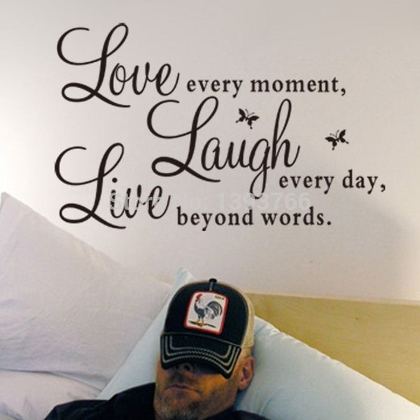 Prezzo di fabbrica Live Love Ridere Letters Vinyl Wall Citazioni Decalcomania PVC Home Decor Wall Stickers FAI DA TE Art Mural Spedizione Gratuita