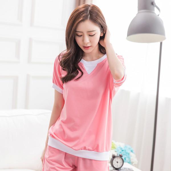 Atacado-Novo Presente Mulheres Pijama Define Pink Simples Confortável Tamanho Grande Meninas Pijamas Pijama Terno Para Casa Roupas De Menina Pijama