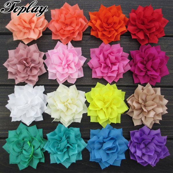 "Toplay 20pcs /Lot 3 ""Poinsettia Fabric Flowers Winter Flower Decoration for Girls /Teens Fashion Headband Solid Headwear 20 Colors"