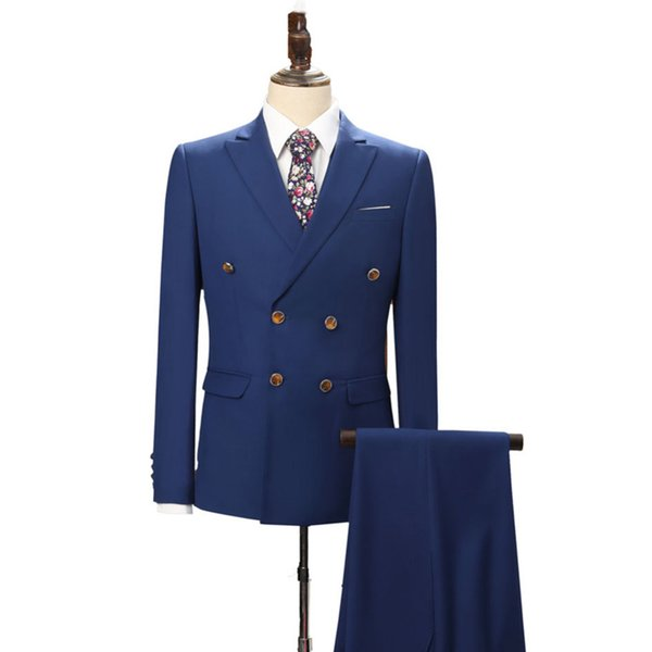 Handsome Blue Groom Tuxedos Wedding Wear 2018 Peaked Lapel Business Men Suits Three Piece Groomsmen Suit (Jacket + Pants + Vest)