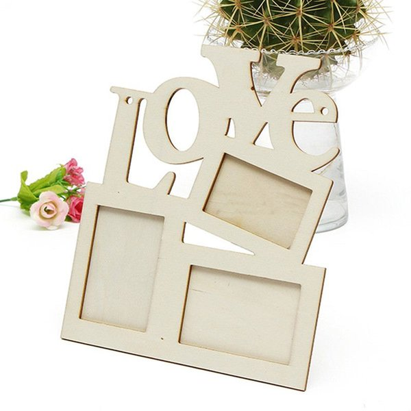 top popular New Hollow Love Wooden Family Photo Picture Frame Rahmen White Base Art DIY Home Decor 2016 hot sale 2019