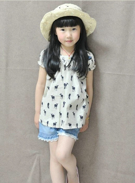 top popular New fashion Girls T-Shirt Kids TOPS short sleeve Blouse deer fawn pattern Children clothing outfit 2021
