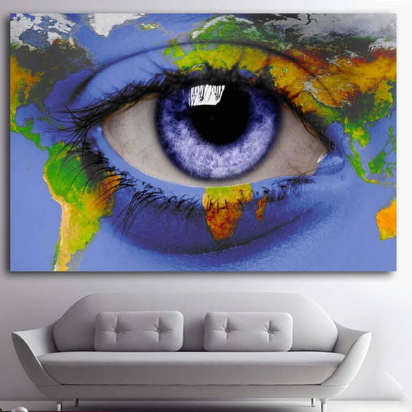 2019 1 Panel Wholesale Oil Painting Abstract Blue Eye World Map Drawing World Map Eye on eye earth, eye mind map, eye egypt, eye clock, home depot map, an old map,