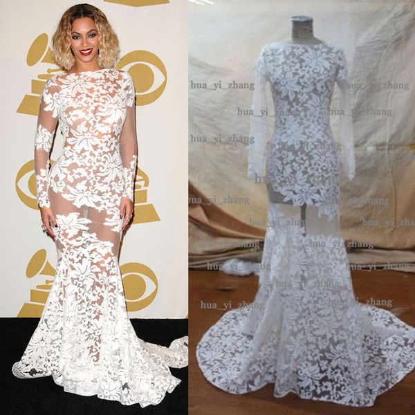 best selling 2015 Beyonce Dresses Sheer Celebrity gowns Sheer Long Sleeve Crew Mermaid Court Train Evening Red Carpet Dresses Real Images