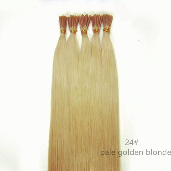 """Brazilian Hair 15""""-26"""" 100s 24# Pale Golden Blonde I-tip Straight Style Hair Brazilian Indian Peruvian Malaysian Remy Human Hair Extensions"""