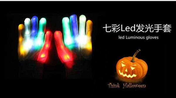 2016 new Halloween christmas hot selling LED flash gloves Dancing glow gloves Concert noctilucent gloves Flash gifts