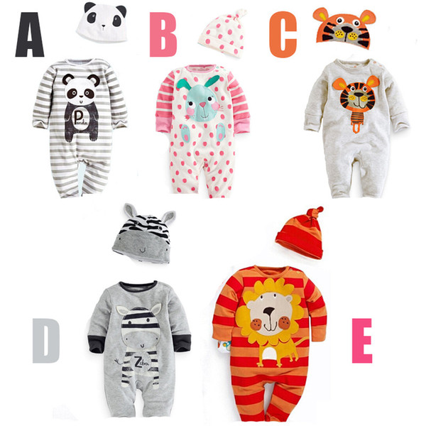 top popular wholesale newborn baby clothes cute animal modelling toddler costume cotton long sleeve with hat baby jumpsuit 3pcs lot 0-3age ab186 2020