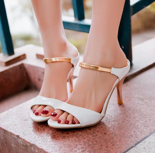 top popular Big Size US4-12 Fashion High Heels Flips Gladiator Sandals for Women Open Toe Platform 4 colors Sandals Summer Shoes LX15 2019