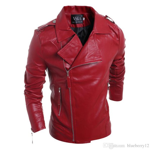 2017 Own Brand Designer Men Leather Jacket Coat Fashion Lapel Neck slim Men Jackets For Autumn Winter