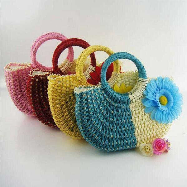 10pcs/lot Pastoral Styles Hand Knit Beach Resort Sunflower Handbag Fashion Crocheted Straw Hand Bags Free Shipping