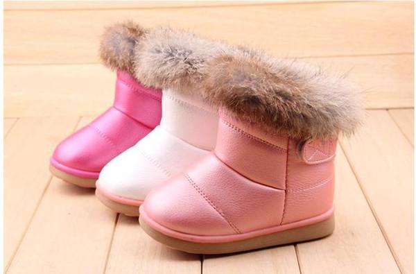 Enfants Bottes Hiver Lapin Fourrure Fond Gril Bottes Enfants Coton Chaussures Épaississement Semelles en caoutchouc enfants chaussures Filles Bottes