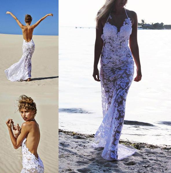 Date Sexy Style Plage Illusion Robes De Mariée Blanc De Dentelle Halter Cou Backless Long Gaine Chaude Robes De Mariée Sur Mesure W575