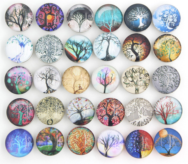 top popular Free Shipping DIY Jewelry Findings,New Arrival Life Tree Glass Stone Buttons Life Tree Buttons for Snap Bracelet Necklace Ring Earrings 2021