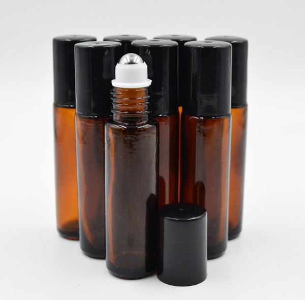 best selling 10ml 1 3oz Thick AMBER Glass Roll On Bottle Essential Oil Empty Aromatherapy Perfume Bottle + metal Roller Ball BY DHL Free Ship