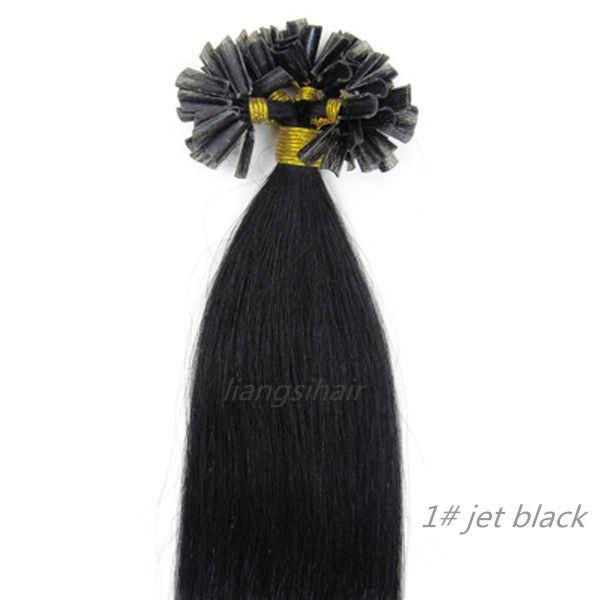 "Nail-hair extensions straight 15""-26"" 100s 1# Jet Black, Wholesale Prices Brazilian Indian Peruvian Malaysian U-tip Remy Human Hair bundles"