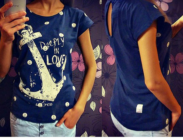 FG1509 Women Anchors Print T Shirt Round Neck Short Sleeve T-Shirt Women Casual Tops S - XL