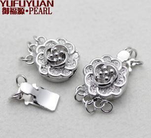 Ücretsiz kargo Toptan Inci aksesuarları Yu fu yuan 925 Gümüş erik inci kolye bilezik kapat 3 satır YPJ49