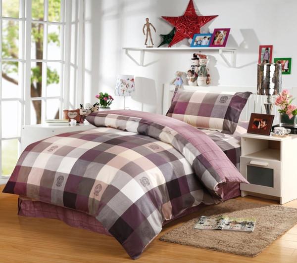 classic purple plaid comforter bedding set 100 cotton student duvet cover set for twin