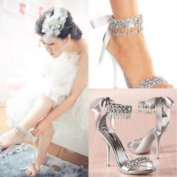 New Fashion High Heels Silver Rhinestone Shoes Wedding Shoes Sandal Bridal  Shoes Simply Elegant Shoes Hot