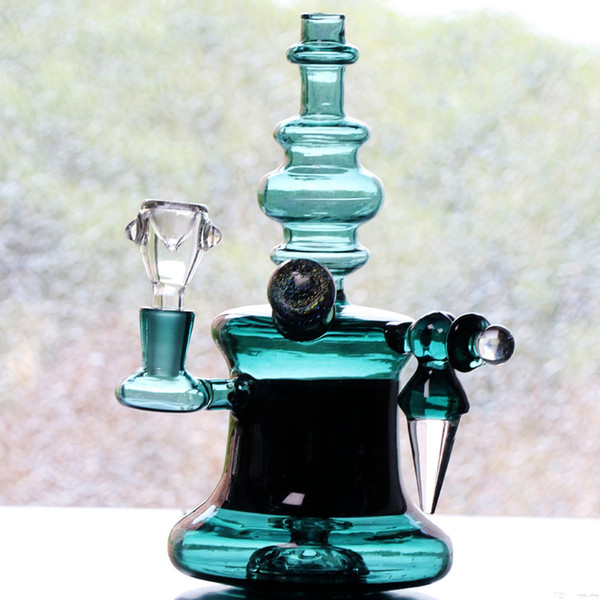 2018 New Arrival Chinese Thick Cheap Glass Bongs Recycler Oil Rigs Hunter Green Smoking bong Hookahs Perc Perculator Free Shipping