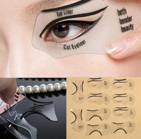 New 1000pcs Styles Beauty Cat Eyeliner Models Smokey Eye Stencil Template Shaper Eyeliner Makeup Tool