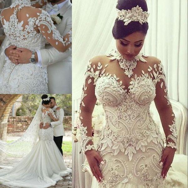 2018 Luxus Kristall Perlen Applique Brautkleider Meerjungfrau High Neck Long Sleeves Brautkleider Gericht Zug Brautkleid