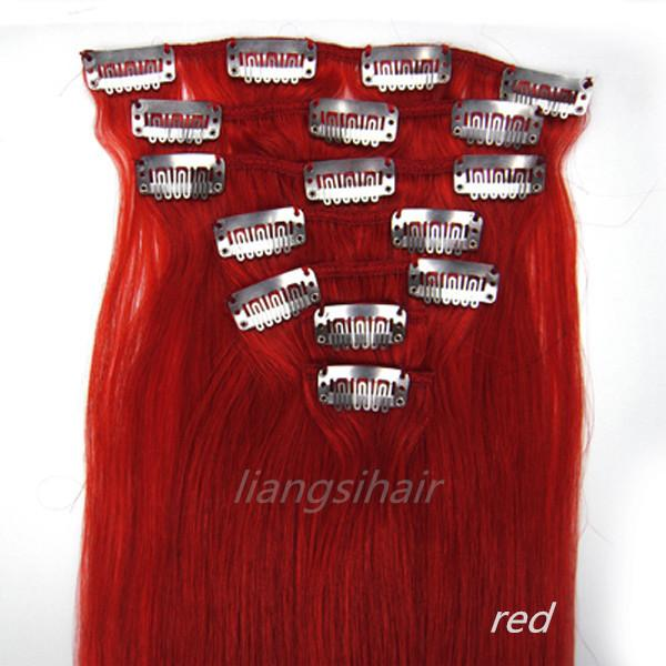 "Red Color Clips in Remy Human Hair Extensions 15""-22"" 70g 7pcs Brazilian Malaysian Peruvian Indian hair styles Virgin Remy Human Hair"