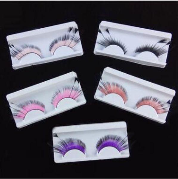 5 Colors 3D Feather Style Fake Eyelashes Lengthened Hair False Eyelashes Feather Exaggerated Art Eyelashes Party Makeup CCA8383 100pair