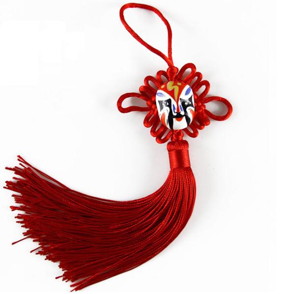 Beijing Opera Facial Masks Knot Decorations Classic Color Chinese Knot Car Hanging Accessories DIY Handicraft Souvenir Gift 100pcs/lot SK402