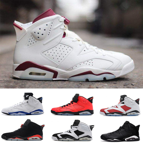 2018 6 mens basketball shoes black cat Hare Olympic red black Infrared Carmine Sneaker Sport Shoe For Online Sale size 8 - 13