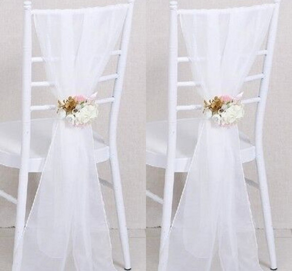 2017 Cheap Sample Wedding Chair Sashes White Wedding Chair Ribbon Gauze Back Sash Back Of The Chair Decoration Covers Party Wedding Suppies