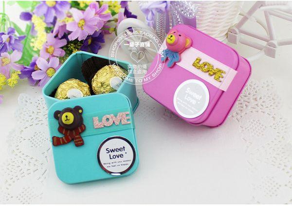 Estilo coreano bonito encantador TEDDY BEAR Tin Candy favores titulares caixas de presente de casamento doce caixa de chá de bebê caixas de doces 6 cores para escolher