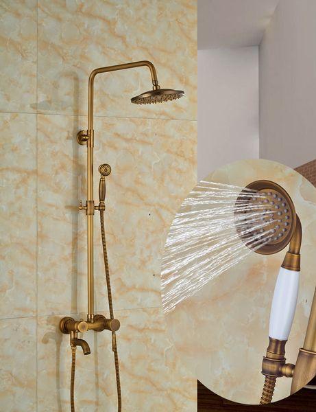 "Wholesale And Retail Luxury 8"" Round Rain Shower Head Swivel Spout Valve Mixer Tap W/ Hand Shower Antique Brass"