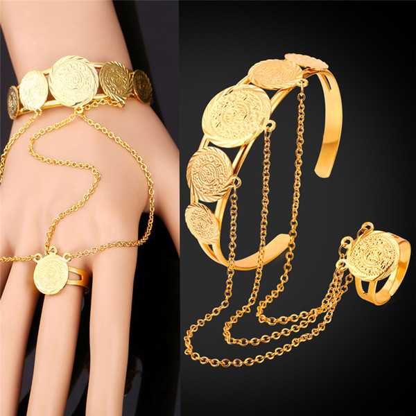 best selling Women's Special Design Slave Bracelet Christmas Birthday Gift Round Charms Cuff Bracelet Ring Gold Jewelry Set