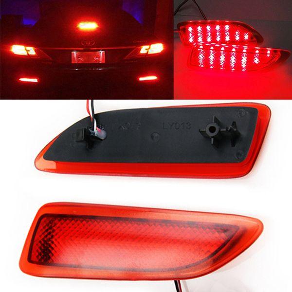 DC 12V 2pcs Red LED Lens Rear Bumper Brake Turning Light Reflector Tail Brake Light For Lexus CT200h Toyota Corolla Light Lamps