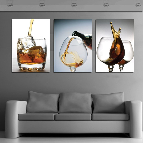 HOT SELL 3 Panels Modern vintage kitchen wine glass Wall Painting flower Art Picture Paint on Canvas Prints for home home decor