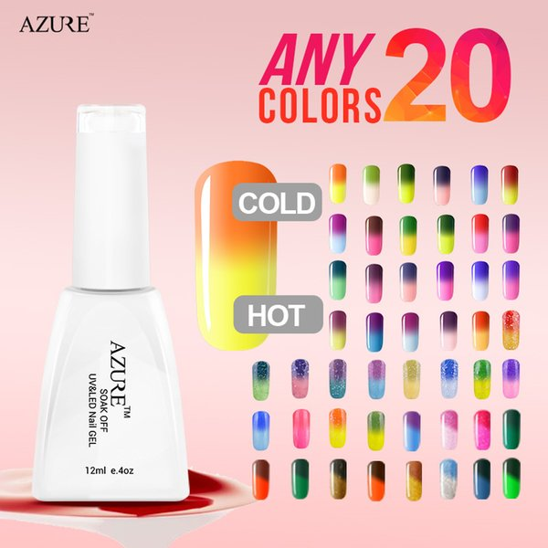 New arrival brand Azure Temperature glitter gel 20pcs/lot Changing Color nail Gel Polish set lower price gel polish free shipping