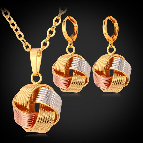 top popular 2015 New Necklace Sets Women's Gift Wholesale Mix Rose Gold  18K Gold Platinum Plated Necklace Earrings Jewelry Sets 2020