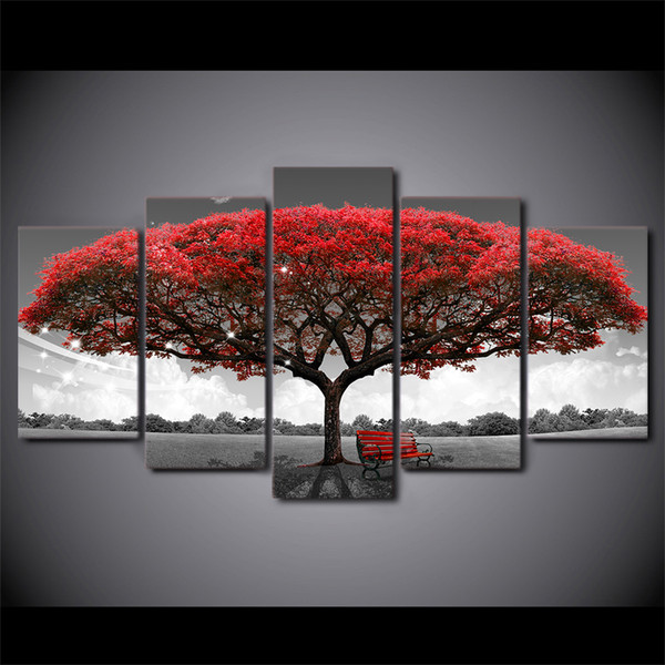 5 Pcs/Set HD Printed Framed Black And White Red Tree Modern Home Wall Decor Painting Canvas Art Painting Wall Pictures