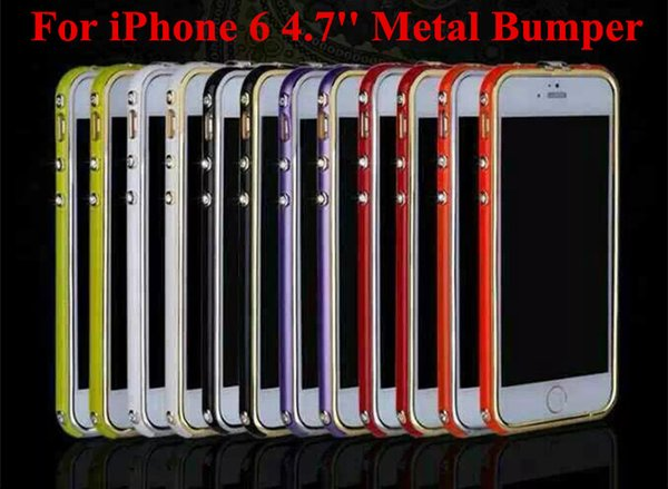For iPhone 6 4.7 inch Luxury H Brand Metal Frame Bumper Deluxe Bling Rhinestone Diamond Ultra Thin Round Arc Aluminum Case Cover For iPhone6