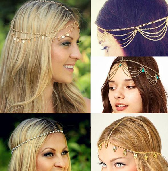 Nova Cabeça de Cabelo Cadeia de Jóias de Praia Multi Camada de Metal Banhado A Ouro Borla Pérola deixa acessórios de cabelo Boho Headband