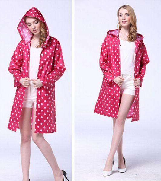 Nuevo Dot Outdoor Travel Ladies Ladies Girl impermeable montar ropa impermeable Poncho bolsillo con capucha rodilla Long Rainwear nylon TY1110