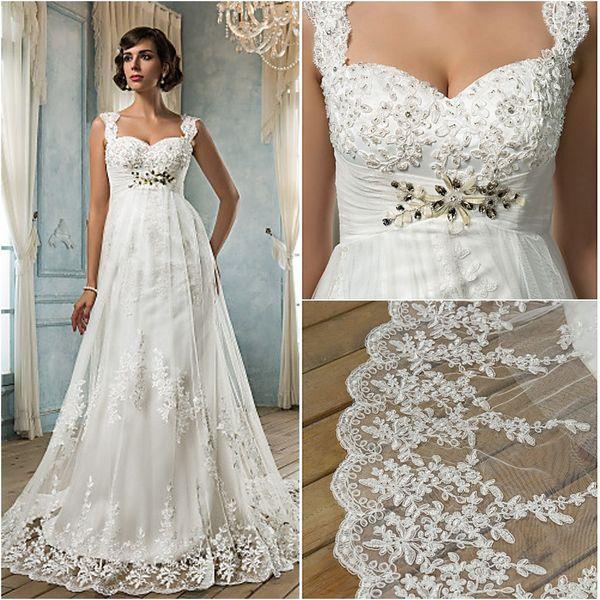 2016 New Fashion Popular Free Shipping Ivory Court Train Empire Square Zipper Appliques Tulle Sheath Wedding Dresses 211