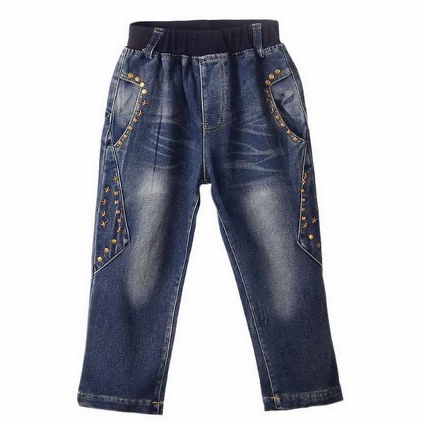 Vendita calda al dettaglio di marca Ragazzi jeans denim con perline moda decorazione ragazzi pantaloni all'ingrosso abbigliamento per bambini PT81016-3