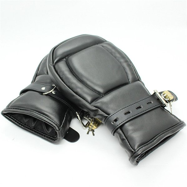 Adult Game Locking Goth Padded Mittens Gloves Dog Paw Palm Leather Bondage Restraints Sex Toys For Woman Men Couples Products